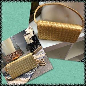 Evening light gold satin clutch/ purse